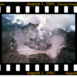The volcano that changed the climate. The eruption of Mount Pinatubo in 1991 led to a temporary drop in global temperature. This illustrated that tiny particles ejected into the atmosphere have the potential of changing the Earth's climate. This aerial view to the south of the Pinatubo crater shows the start of a small explosion on August 1, 1991.