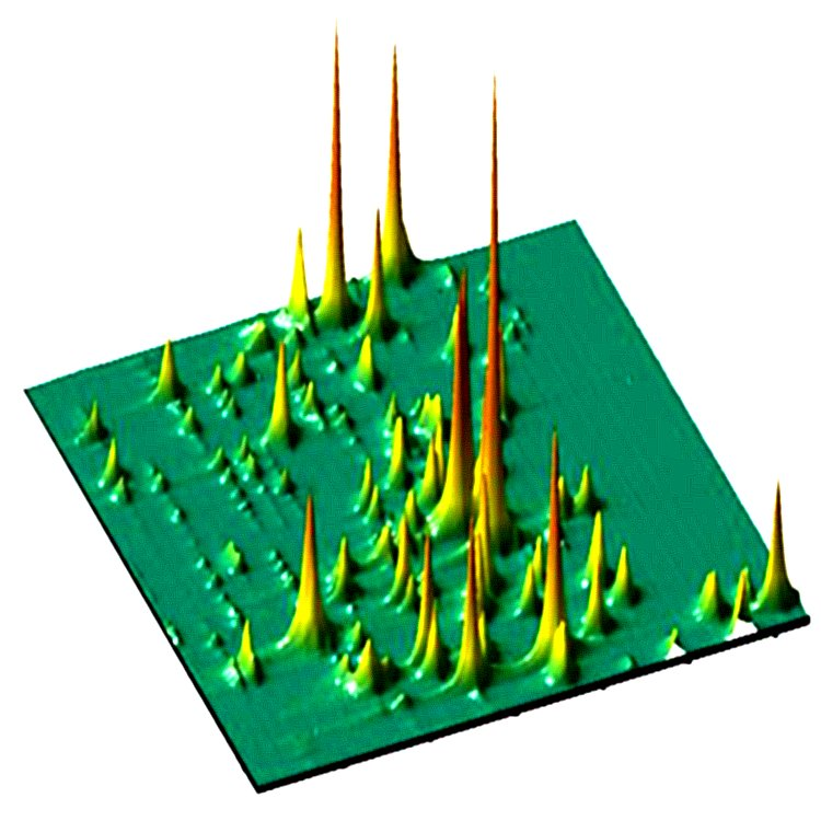 Anderson localized modes of light. The high intensity peaks show the random positions where the light emitted in a disordered photonic crystal waveguide becomes strongly localized. These are signatures of Anderson localization of light.