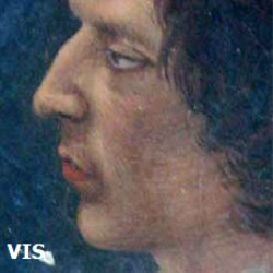 Visible image. A standard picture of a fresco painting shows the features we can see with the unaided naked eye. Detail of a fresco model, copied from Ghirlandaio, taken around 1930 by the restorer Benini.