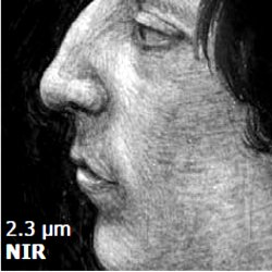 Near-infrared image. A near-infrared image gets information from underneath the painting. Therefore, near-infrared imaging has been extremely useful in revealing features such as preparatory drawings that may lay there.