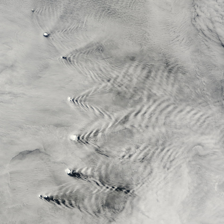 Example of a diffraction pattern. A view from space of the Sandwich Islands, in the Pacific Ocean. One can clearly see the diffraction pattern formed by the waves after these meet the emerging islands.