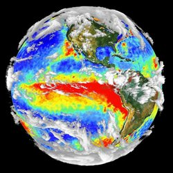 Measured cloud distribution of the earth. From outer space, clouds appear brighter than land and oceans because they reflect more light. Since the clouds are unevenly distributed in an earth-like planet, fluctuations in its brightness are expected.