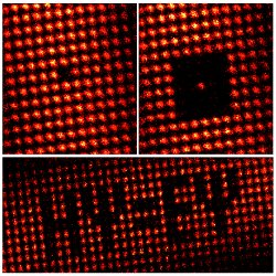 Playing with quantum pixels. Once the lattice structure is filled with the atoms, the electron beam can be used to deterministically empty certain lattice sites, which opens new possibilities for realizing experiments and pixel-like arrangements.