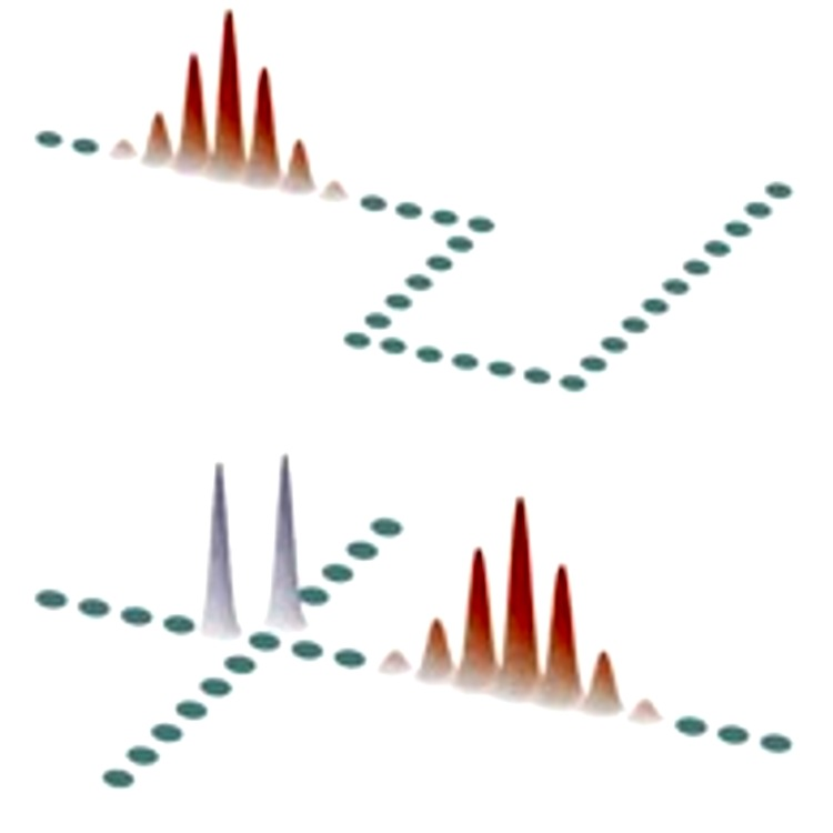 Possible applications of discrete solitons. Upper row: A nonlinear array network involving consecutive bends. The waveguide cross-sections are shown in green. A discrete soliton, shown in red, is set in motion in this system by appropriately tilting the beam. Computer simulations indicate that discrete soliton can successfully negotiate a sequence of bends. Lower row: An X-switching junction that uses two different discrete soliton families, signal (red) and blockers (blue). Unlike signal, which are highly mobile, blockers tend to retain their position after a collision event. After incoherent collision, the signal soliton is routed toward the lower branch, because of the presence of the two blockers at the entries of the respective pathways.