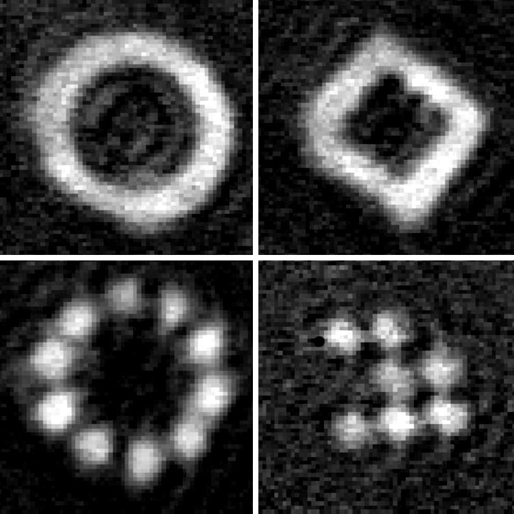Ultracold atoms variously arranged. One setup can be used to arrange ultracold  in a great variety of configurations. It even it allows switching from one geometric structure to another.