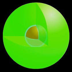 How a spaser looks like. The spaser is formed by a gold core, which is surrounded by a glasslike shell filled with green dye molecule to create a sphere of 44 nanometers in diameter.