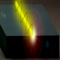 A terahertz tunable laser. In this artistic representation, the laser is the yellow wire, which is mounted on the grey support block. The electromagnetic field inside the laser reaches beyond the transversal dimensions of the wire, which makes it possible to influence the lasing frequency by moving objects close to the wire.