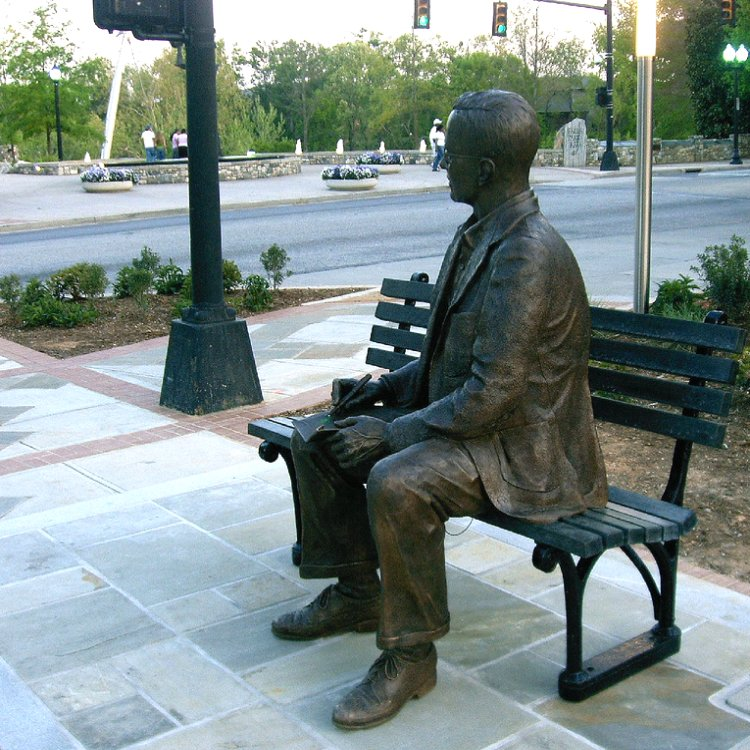 Charles H. Townes� statue. As Charles H. Townes recalls [3], he was sitting on a park bench in Franklin Park, Washington DC, USA, when he got the inspiration for the amplification by stimulated emission of radiation.